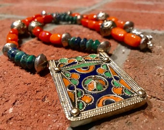 Amazigh Hirz Moroccan Berber Tifinagh Ethnic silver Enamel pendant necklace with Azurite Crysocolla rondelles and Quartzite Tribal Necklace.