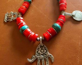 Morrocan Berber Tuareg Tribal Ethnic handmade Orange Coral & Turquoise rondelle Silver Charm Tifinagh vintage tiznit Necklace.