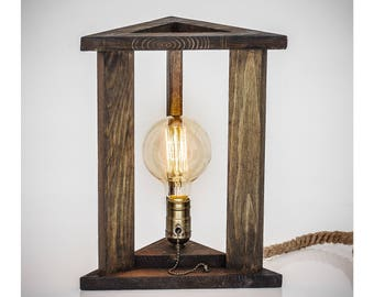 Industrial Lamp Wood Table Lamp Rustic Light Fixture Desk Lamp Wooden  Edison Lamp Unique Wood Lighting