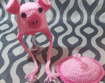 Crochet Baby Pig Hat and Tush Cover. Sizes Newborn to 0-3 Months Photo Prop Costume