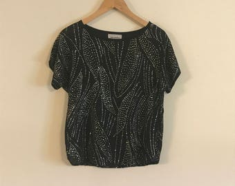 Vintage Rhinestone Semi Sheer Top, T-shirt Style