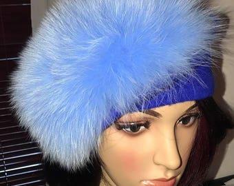 Blue Fox fur French beret