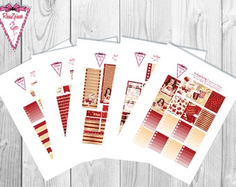 Movie Night (vanilla skin tone) - Printable Erin Condren Weekly Kit w/Cut Line