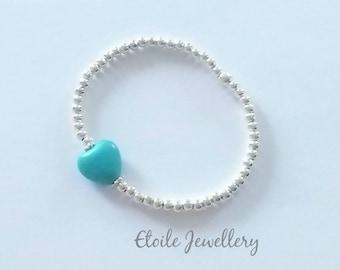 Girls Turquoise Heart Bracelet, Silver Bead Bracelet, Girls Bracelet, Beaded Bracelet, Childrens Bracelet, Childrens Jewellery