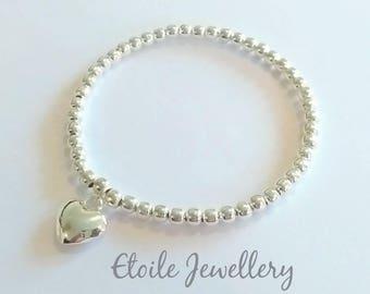 Silver Bracelet, Silver Heart Bracelet, Stretch Bracelet, Silver Heart Jewellery, Bracelets for Women, Stacking Bracelet, Gift for women