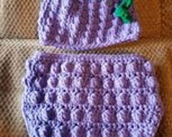 Grape Diaper Cover and Hat Set