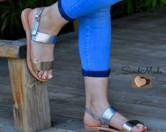 Sandals,Leather sandals,Greek sandals,Handmade sandals,Ankle Strap Sandals,Summer  sandals, Women's sandals, Gold - Silver sandals, ARIADNI