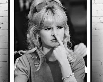 Brigitte Bardot Finger on Nose - Vintage French Actress , Poster, Gift, home decor, model, Fashion photography , Vintage French Actress ,