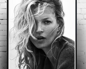 Kate Moss , Fashion Print, Home Decor, Print, Wall Art, Gift, Fashion Photography