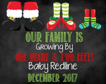 Christmas Feet Pregnancy Announcement, Christmas Pregnancy Announcement