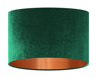 Velvet Lamp Shade, Bottle Green Handmade Fabric Lampshade, Mirror Copper Lining, 20 30 40 cm, Large Small Light Shade, Drum Shade, Gift
