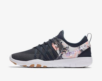 crystal Nike Free TR7 Bling Shoes with Swarovski Crystals Women's Running Shoes Anthracite Lava Glow