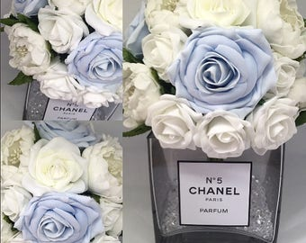 Blue Chanel perfume inspire vase