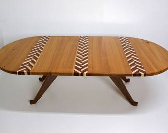 Herringbone Coffee Table - Old Growth Pine, Solid Walnut Legs