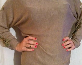 Taupe sweater color lace sleeves