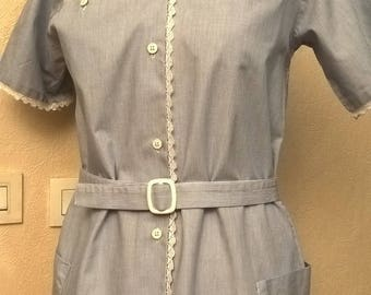 Cotton dress blue with white stripes