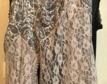 Scarf printed silk, viscose and beige lace