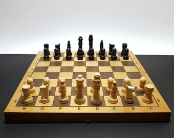 1980s Vintage USSR Soviet Wooden Chess Set, with board