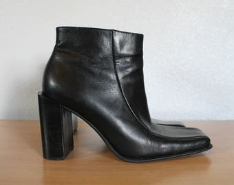 Vintage 90s Square Toe Ankle Boot Black Leather Minimalist US Size 7 Eur 37.5