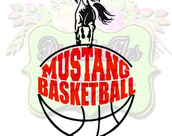 Mustang Basketball Svg Cut File Basketball Mom T-Shirt Basketball Cut File for Silhouette or Cricut