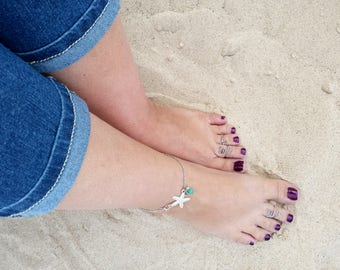 Starfish Ankle Bracelet - Starfish Anklet - Chain Anklet with Starfish - Foot Jewelry - Summer Jewelry - Starfish Jewelry - Beach Anklets