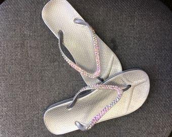 Swarovski crystal custom flip flops