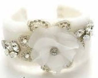 Stunning tulle and rhinestone  intage bridal cuff