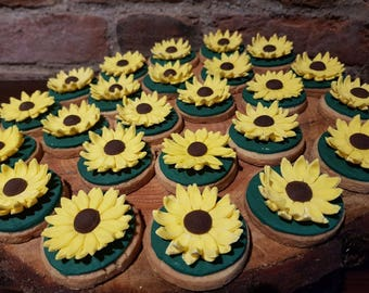Box of 6 - Sunflower / Daisy Biscuits, Birthday Biscuits, Baby Shower Biscuits,  Thank You Biscuits, Homemade Cookies