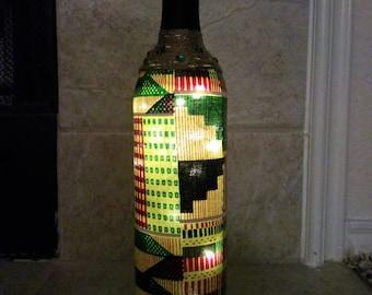 African Print LED Bottle Light