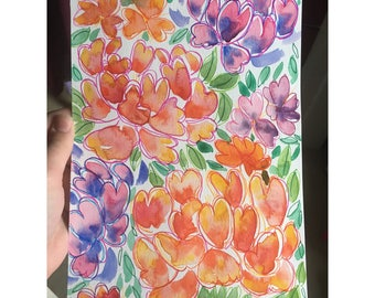 Watercolor floral painting vibrant orange and pink flowers