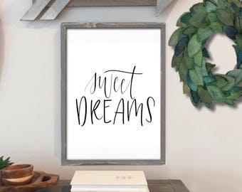 Sweet Dreams - Hand Lettered Print