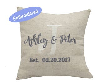Pillow Covers Embroidered Couple Personalized Throw Pillowcase Gifts for Wedding,Housewarming,Couple,Nursery, Anniversary