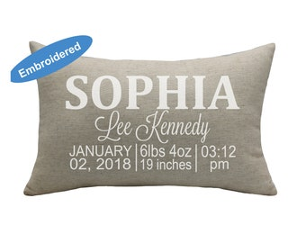 Birth Announcement Pillow Cover,Custom Birth Pillowcase,Personalised Pillow,,Baby Shower Gift,Mother daughter Cushion Cover,Birth details