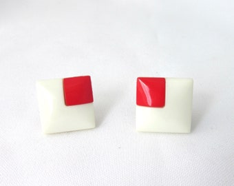 Vintage earrings square white and square red West Germany