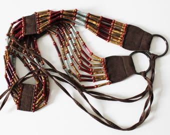 Woman's belt: Eco belt, Boho /hippie accessories, Ethnic accessory, glass beads belt, buckle waist belt, braided belt, brown blue