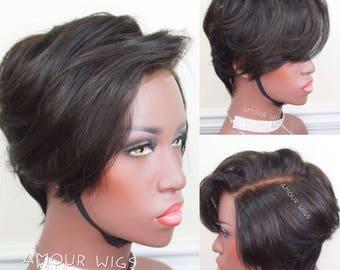 100% Virgin Human Hair Wig | Short Cut Lace Closure Custom Wigs