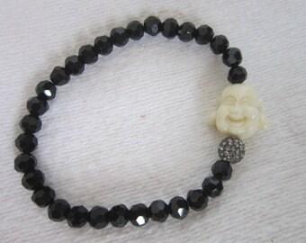 Vintage Stretch Bracelet with Black Glass and Genie Head and Rhinestones