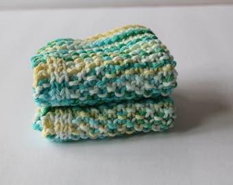 Knit Washcloths Bath Time Wash Cloths 100 % Cotton Washcloths Bathtime Accessories Baby Shower Gift Childrens Knit Washcloths Baby Washcloth