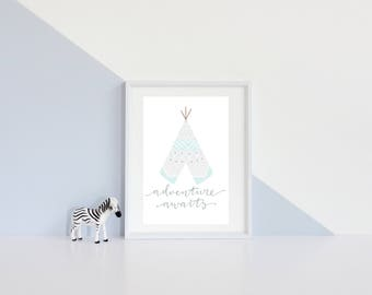 Adventure awaits grey and mint teepee - instant download