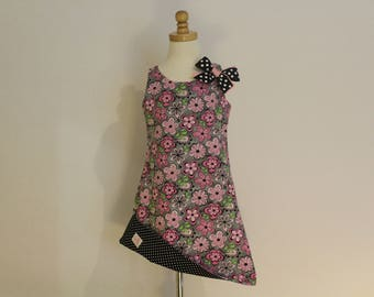 Pink Floral and Black n White Polka Dot Print Reversible Sundress