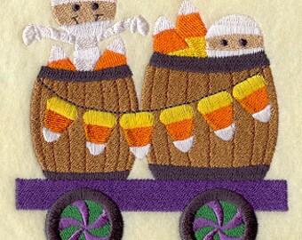 Trick-or-Treat Train - Mummies & Candy Corn, Embroidered Halloween Dish Towel, Halloween Tea Towel, Cute Halloween Kitchen Decoration
