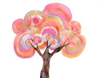 Lollipop Tree Painting - A4