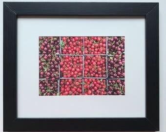 FOOD PHOTOGRAPHY PRINT - farmers market produce art - kitchen art - fine art print - cherries - sour cherries - sweet cherries