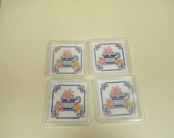 Cross Stitch Coasters,  Cross Stitch, Coaster, Teacup Coasters, Flower Coasters, Coasters, set of 4