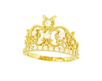 14K Gold Crown Women's Ring Size 8.25