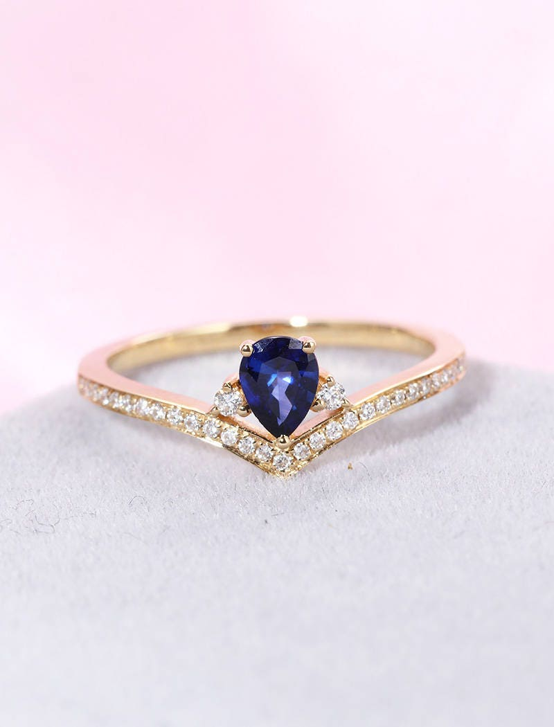 Sapphire engagement ring Pear shaped engagement ring women diamond ...