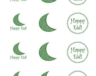 Printable Happy Eid Holiday Crescent Moon 2 inch sticker designs for cupcake toppers and crafts [Digital File for Instant Download]