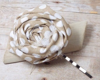 Rolled Flower Hair Pins,  Rolled Rosette, Bobby Pin, Teenage Girls Hair Accessory,  Women Hair Accessory, Flower Clips, Beige, Tan, White
