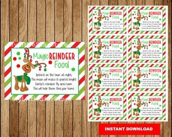 Magic reindeer food Tags, Christmas tags, Printable Magic reindeer food Christmas tags Instant download