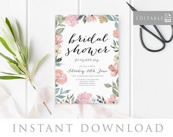 Bridal Shower Invitation INSTANT DOWNLOAD,  Bridal Shower Invite, Before I do, Bachelorette Printable, Hens Night Invitation - Blossom